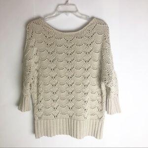 Loft Chunky Knit Cotton Sweater Scalloped design L